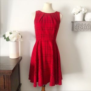 ELLE red windowpane pattern A-line dress size 2